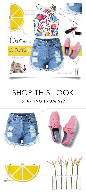 """The Final Cut: Denim Shorts"" by linkfari ❤ liked on Polyvore featuring Keds, Jessica McClintock, Dot & Bo, Armani Privé, jeanshorts, denimshorts and cutoffs"