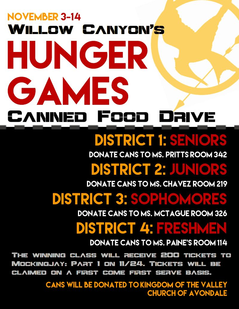 Canned Food Drive with a Hunger Games Twist! | Food drive ...