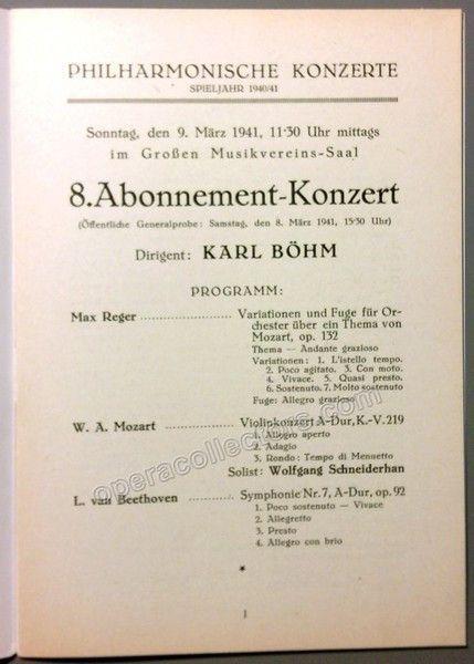 Bohm Karl  Vienna Philharmonic Concert Program   Vienna