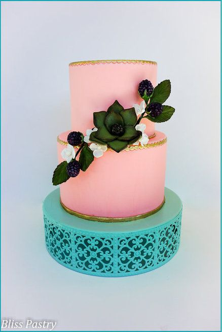 Succulent and Blackberry Wedding Cake