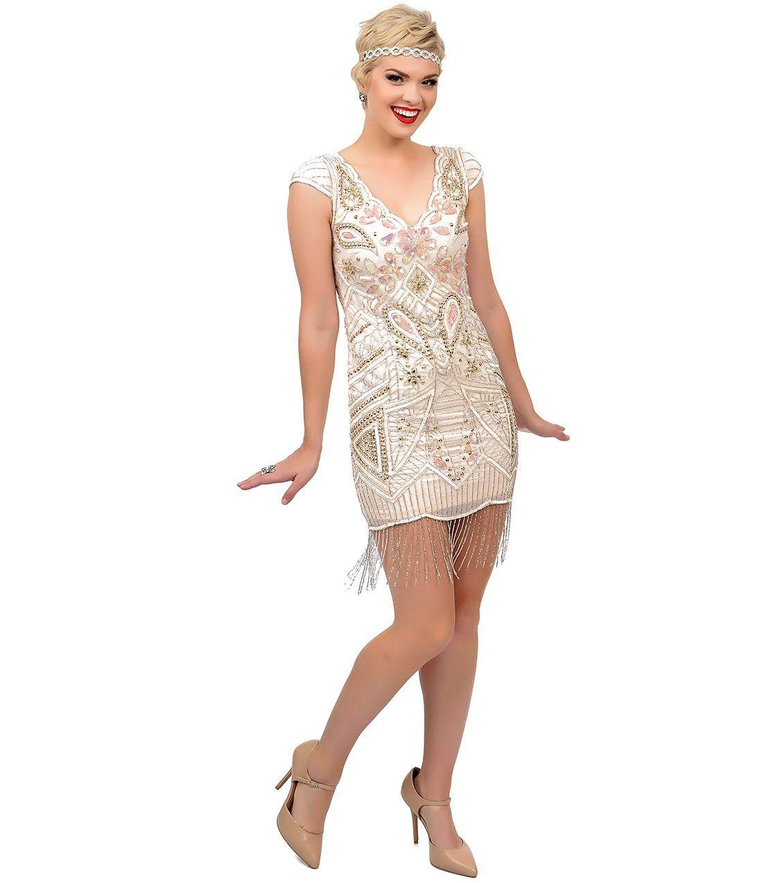 1920s Style Beaded Millie Fringe Fler Dress Uniquevintage