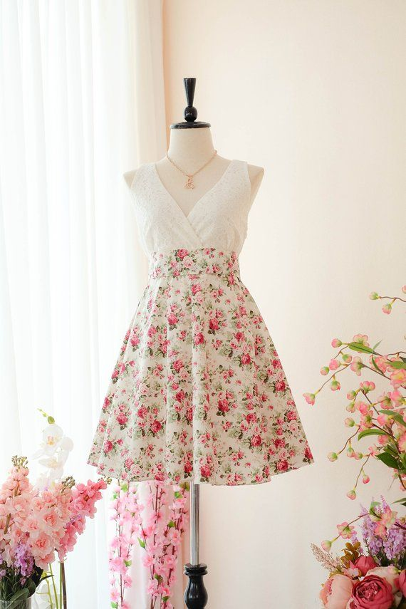 7aa48799d3c White dress Bridesmaid dress pink Floral dress Vintage dress Country dress  Hippie dress Summer dress