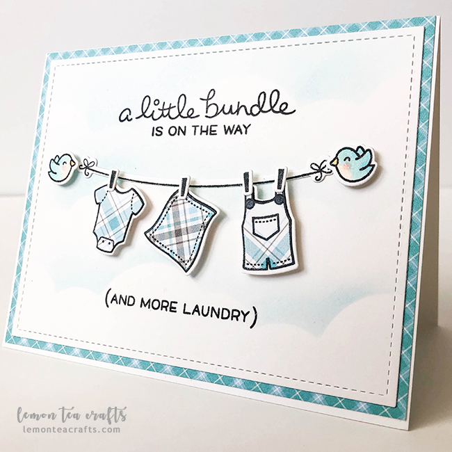 A Baby Boy And More Laundry Soon Lawn Fawn Lemon Tea Crafts Baby Shower Cards Handmade Baby Shower Greeting Cards Baby Boy Cards