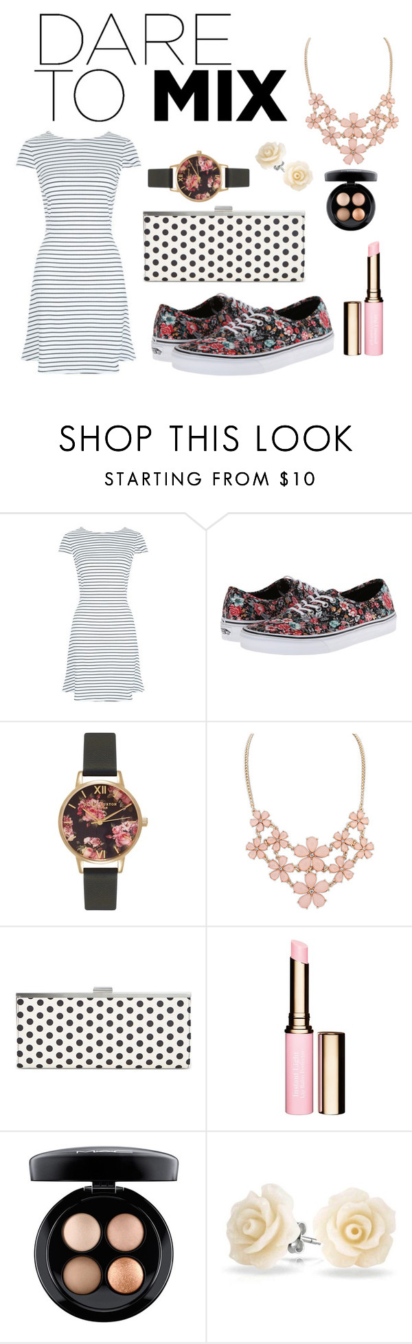 """""""Dare to Mix"""" by jayds73 ❤ liked on Polyvore featuring New Look, Vans, Olivia Burton, Style & Co., Clarins, MAC Cosmetics, Bling Jewelry and patternmixing"""