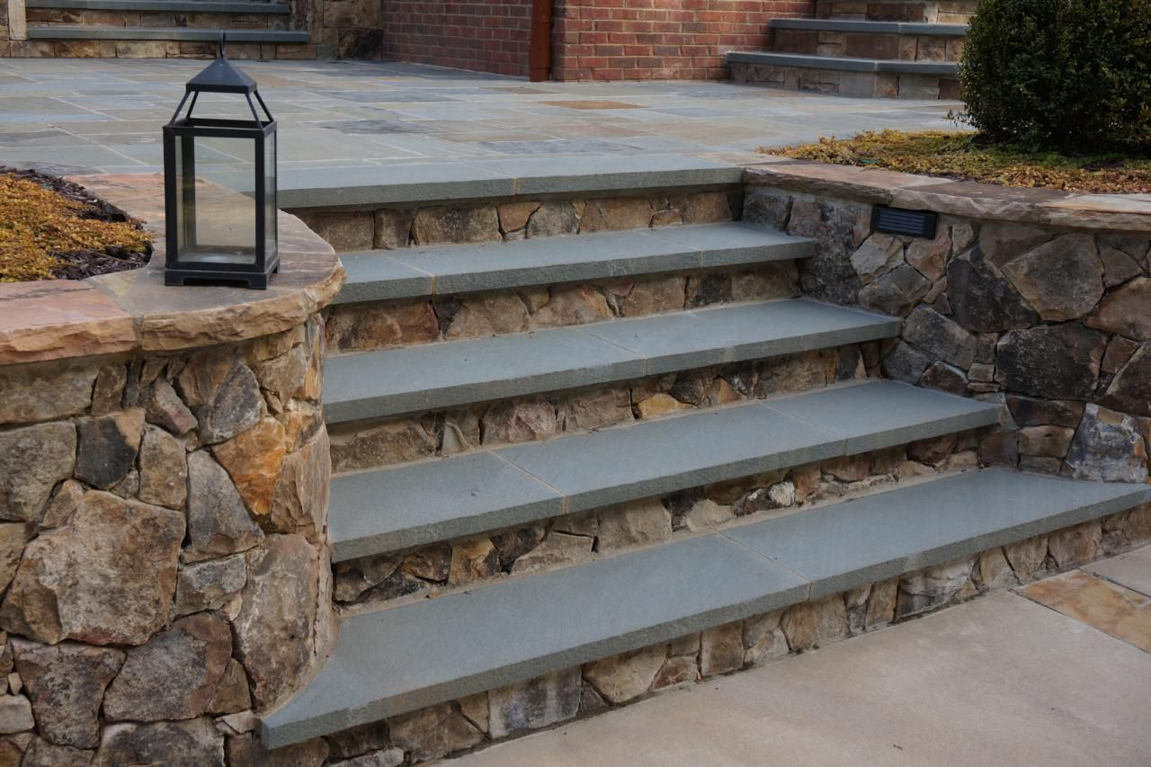 Pennsylvania Bluestone Treads Are Placed Over Tennessee Dry Stack  Fieldstone For These Patio Steps. The Wall And Wall Caps Also Are Made Of  Tennessee ...