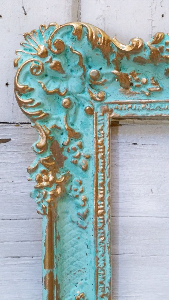 Aqua picture frame wall decor hint of turquiose ornate accented gold ...