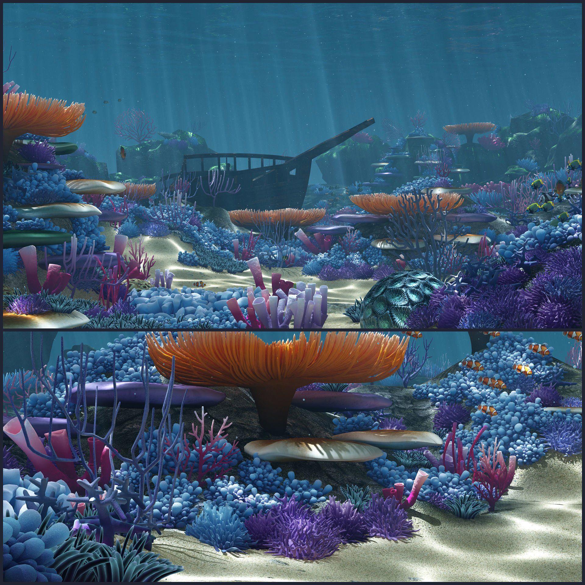 Cartoon Underwater VR/AR Lowpoly 3D Plante