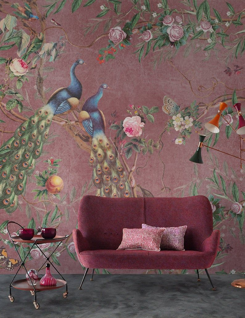 Floral Wallpaper Self Adhesive Peel And Stick Peacock Wall Etsy In 2021 Floral Wallpaper Mural Chinoiserie Wallpaper