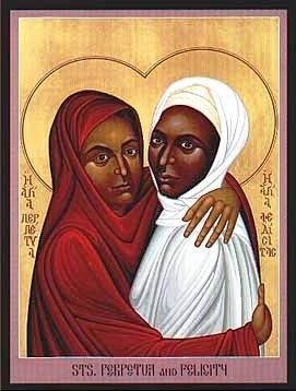 Saint Perpetua and Saint Felicity, a modern icon by Brother Robert Lentz OFM