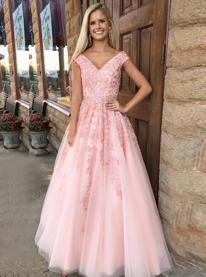 A-Line V-Neck Cap Sleeves Pink Tulle Beaded Appliques Prom Dress #rosaspitzenkleider