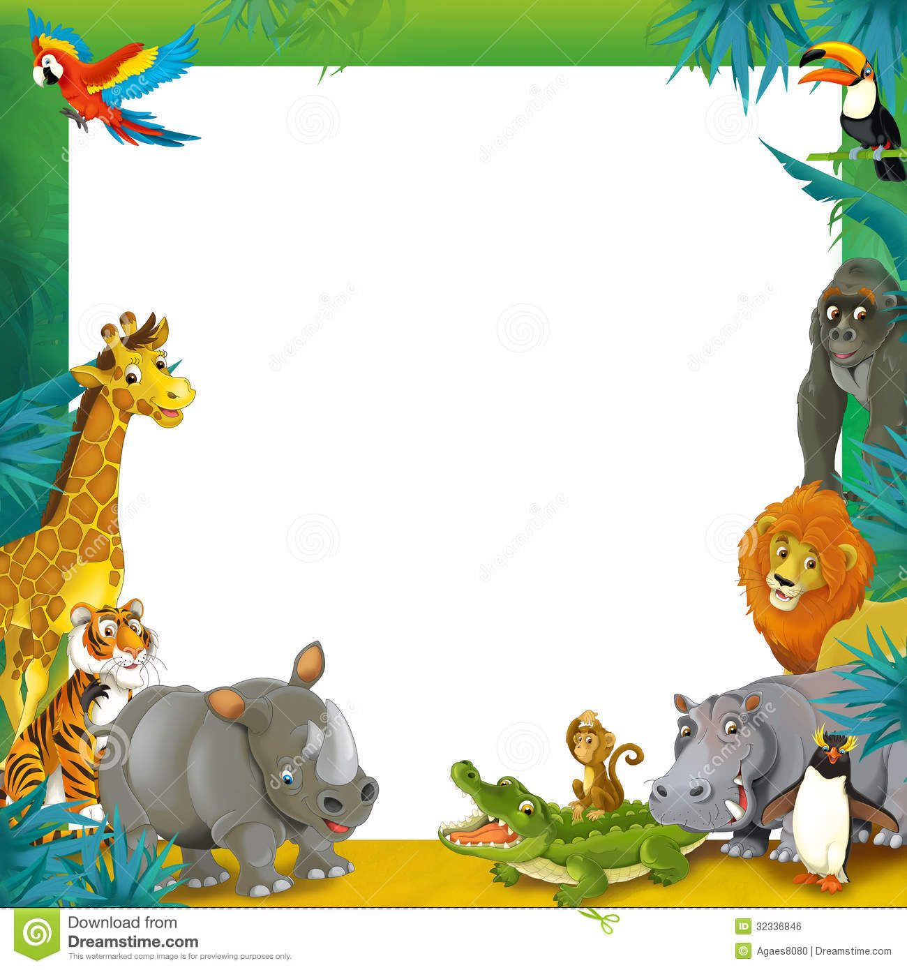 cartoon safari jungle frame border template illustration for