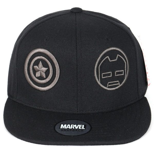 Marvel Iron Man Captain America Logo New Era Style Snapback Hat... ( 16) ❤  liked on Polyvore featuring accessories, hats, ball cap hats, logo hats, ... d7f377caadcb