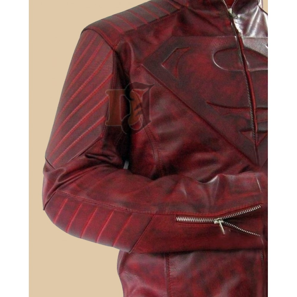 Superman Smallville Red Leather Jacket Distressed