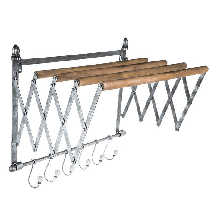Galvanized Metal Wall Rack In 2020 Galvanized Metal Wall Farmhouse Laundry Room Laundry Room Drying Rack