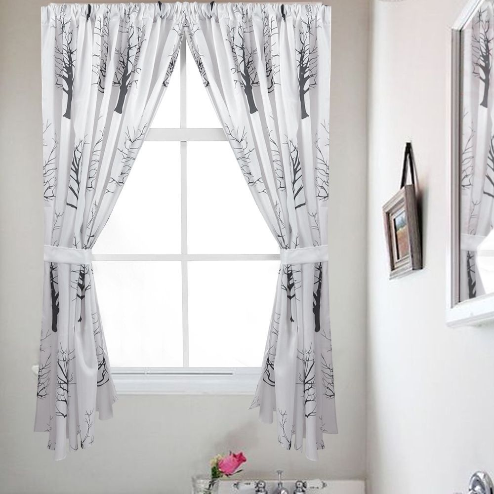 And White Tree Silhouette Print Fabric Bathroom Window Curtain Set With Holdbacks Products