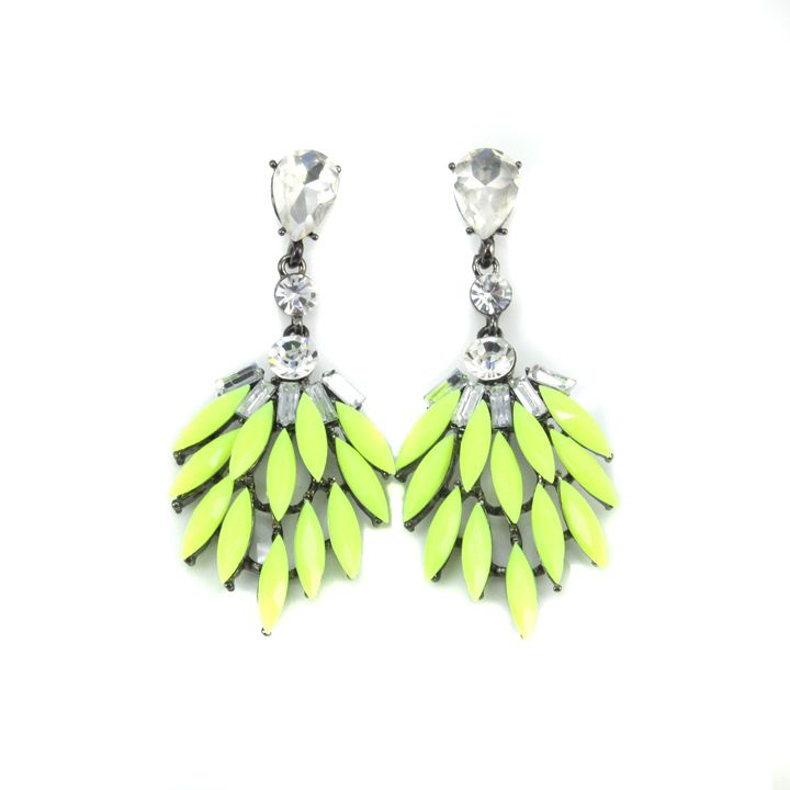 2017 New Fashion Neon Green Resin Stone Drop Earrings Vintage Jewelry For Women Free Shipping