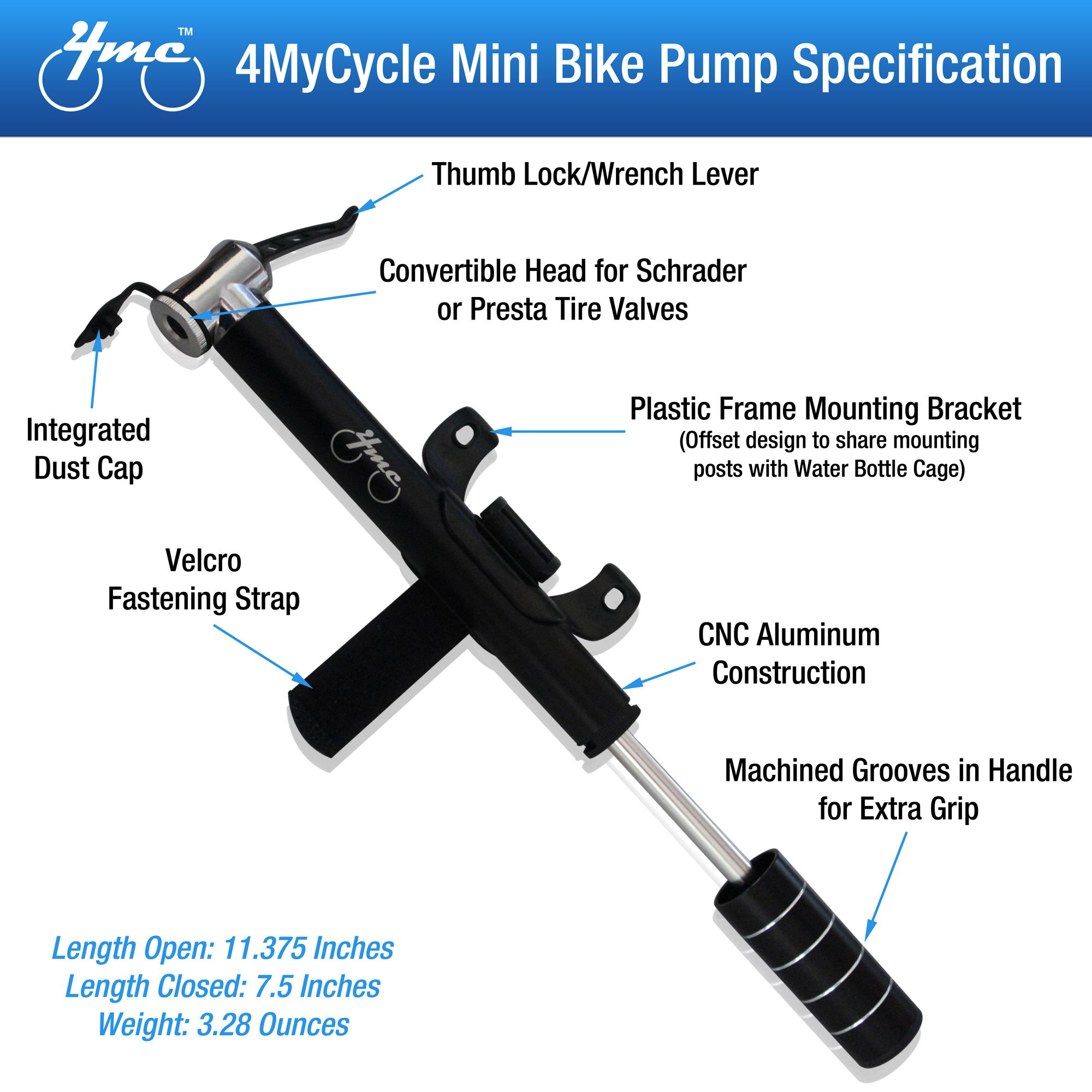 Mini Bike Pump From 4mycycle Deluxe Black Alloy Bike Pump