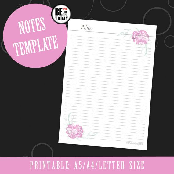 Printable Notes Template, Flower Printable Pages, Notebook Page - notebook paper download
