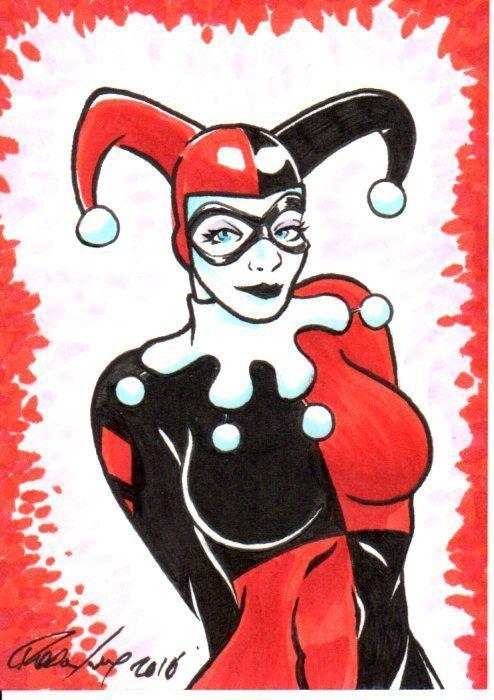 Harley Quinn DC Sketch Card 1/1 Original Art by Artist Rodney Fyke
