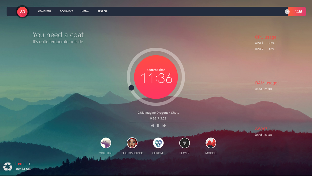 Suite Mashup Rainmeter Mashup, Custom, Desktop pc