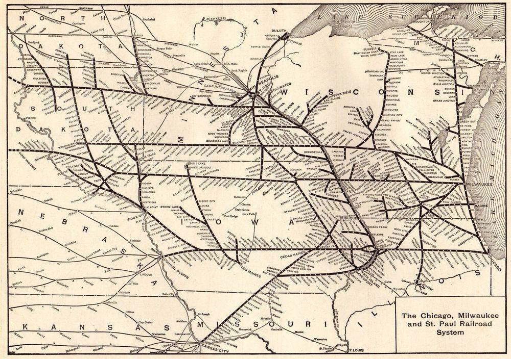 1908 Antique Chicago Milwaukee St Paul Railroad Map Vintage - Us Map 1908