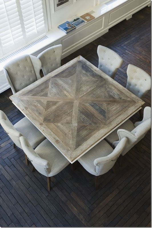 Idea For Doing A Non Traditional Dining Table The Open Kitchen Living And Area Square Or This Type Of Inlay Pattern In