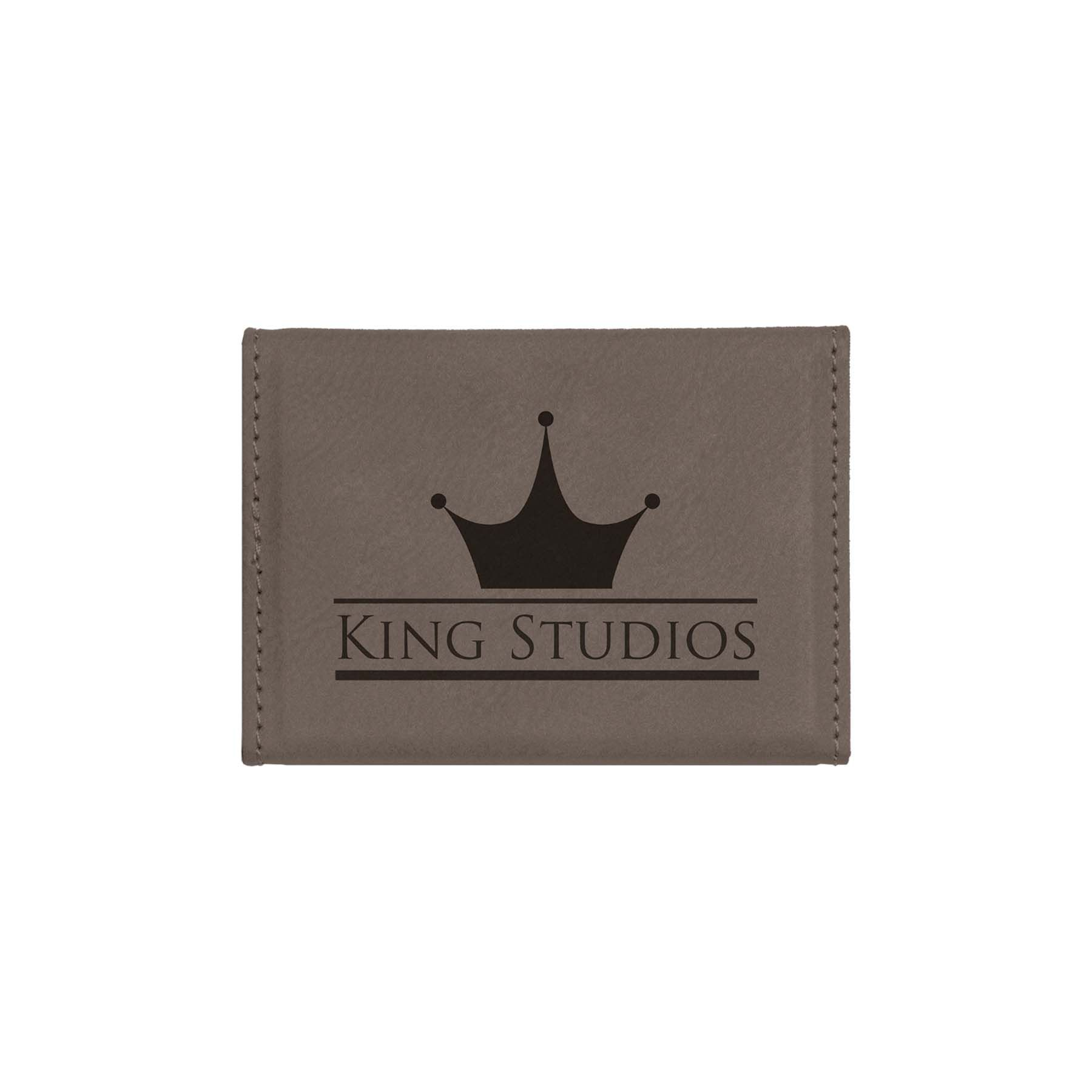 these classy engraved leatherette business card holders are great