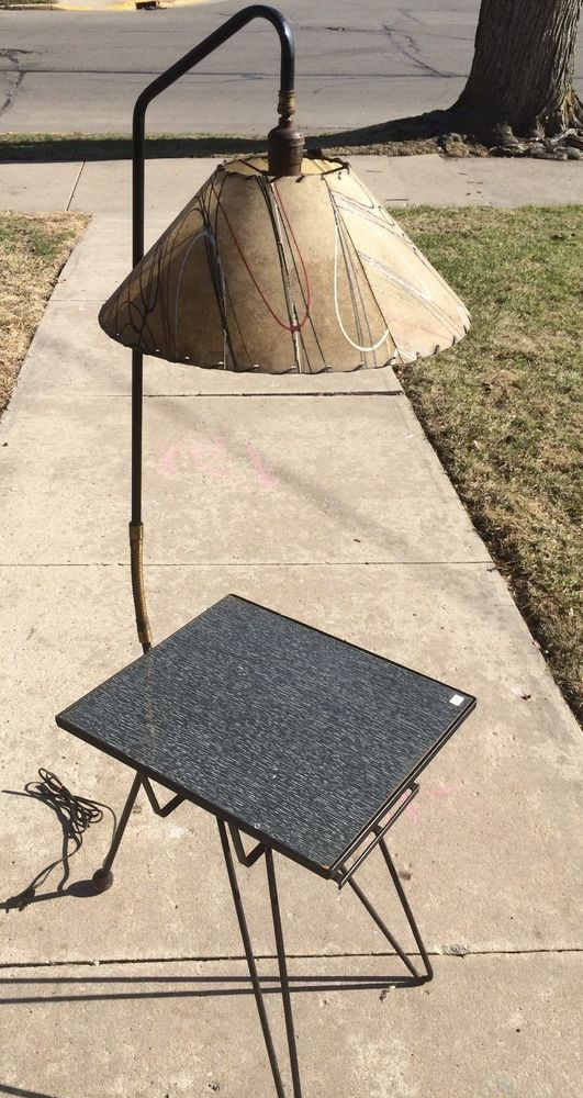 I351 Mid Century Richwood Tripod Hairpin Fiberglass Gooseneck Table Lamp Table Lamp Floor