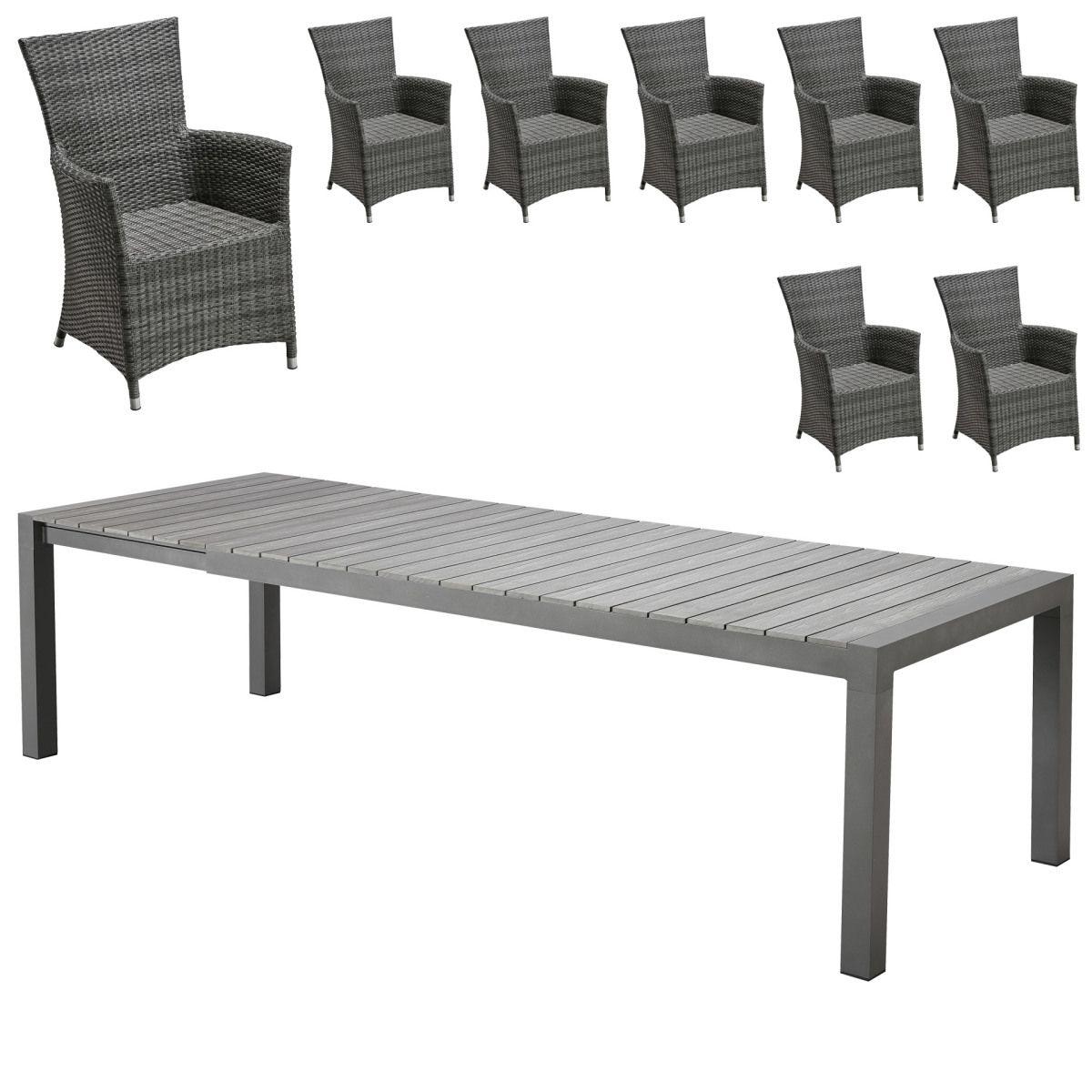 Gartenmöbel Set Miami XXL/ Kansas (95x205 275, 8 Stühle) Jetzt