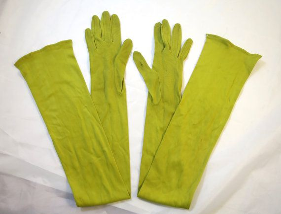 Vintage Lime Green Gloves Over Elbow Length Sz 7 VanRaalte  Mid Century Long Rayon Knit Green Gloves Prom Formal Gloves 28 in