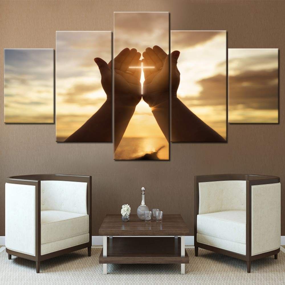 Wall Crosses Decor Jesus Hands Prayer Paintings Wall Art For Living Room Christian Pictures 5 Piece Canvas Modern Home Decor Wall Stickers Aliexpress Cross Wall Decor Living Room Art Wall Art
