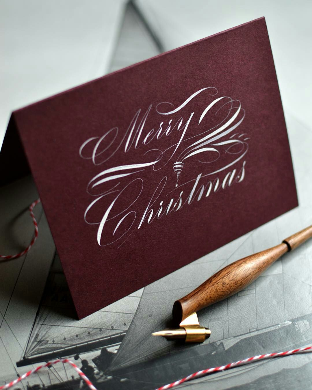 merry christmas calligraphy by masgrimes karten. Black Bedroom Furniture Sets. Home Design Ideas
