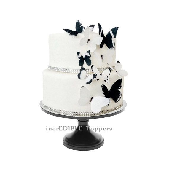 Wedding Cake Topper Edible Butterflies In Black And White Butterfly Cake Cake Decorations Butterfly Wedding Cake Butterfly Cakes Wedding Cake Toppers