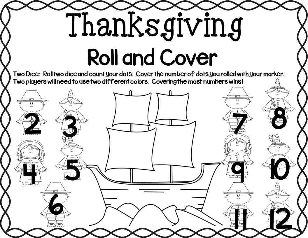 Thanksgiving Math Center Dice Games