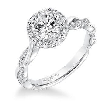 14K White Gold Contemporary Diamond Halo With Twisted Shank