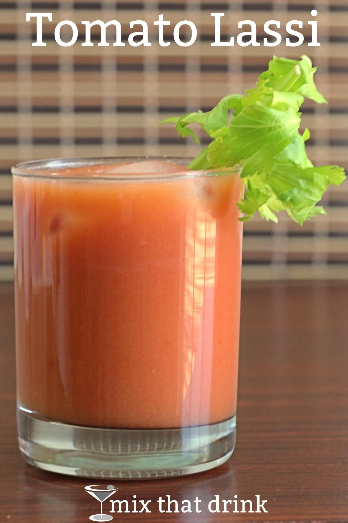 A lassi is a yogurt-based traditional Indian drink, sweetened or spiced with sugar or herbs and spices. The Tomato Lassi is a variation on that drink which adds - wait for it - yep, tomato juice, and some seasonings.