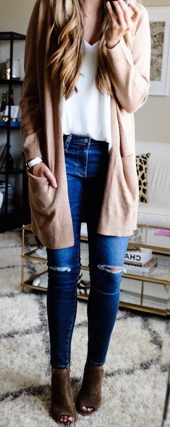 Resultado de imagen para outfits with brown cardigan | Moda ...