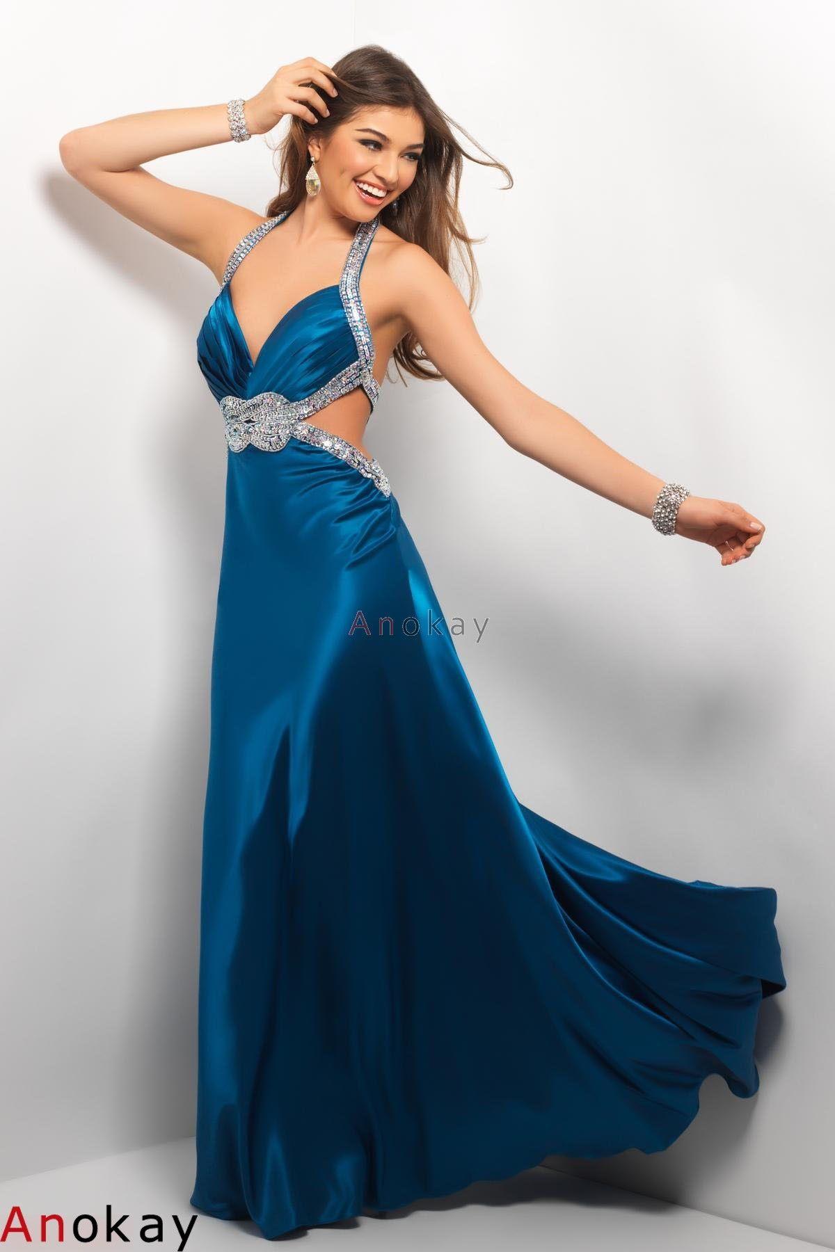 Blau Neckholder Rückenfrei Abendkleider PBP9  Abendkleid
