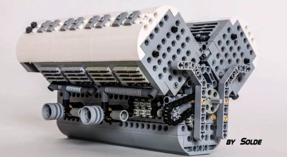 Functional Lego W16 Bugatti Veyron Engine Is A Monster Just Like: Bugatti W16 Engine Animation At Shintaries.co