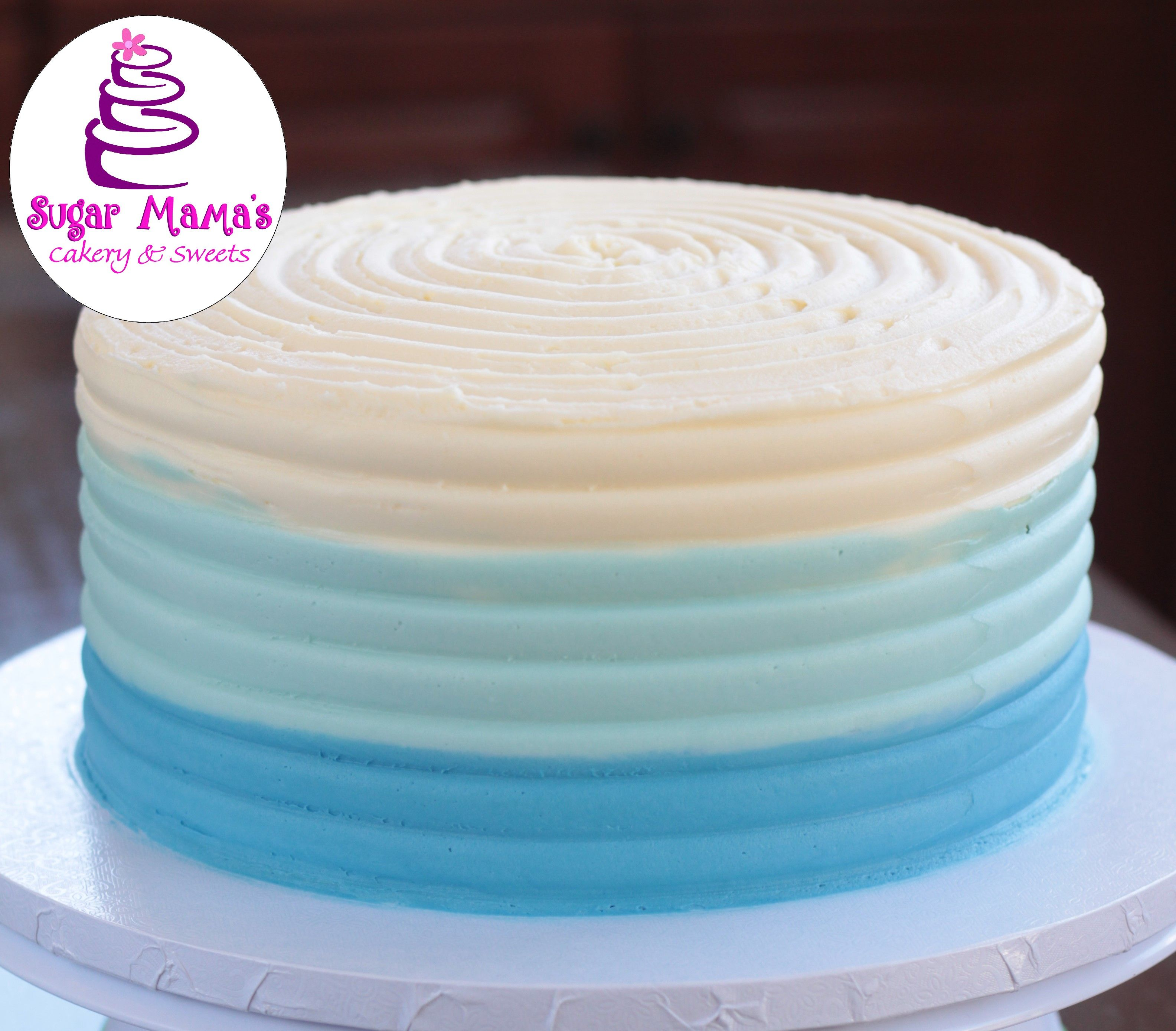 Simple Blue Ombre Buttercream Cake Buttercream Cake Birthday