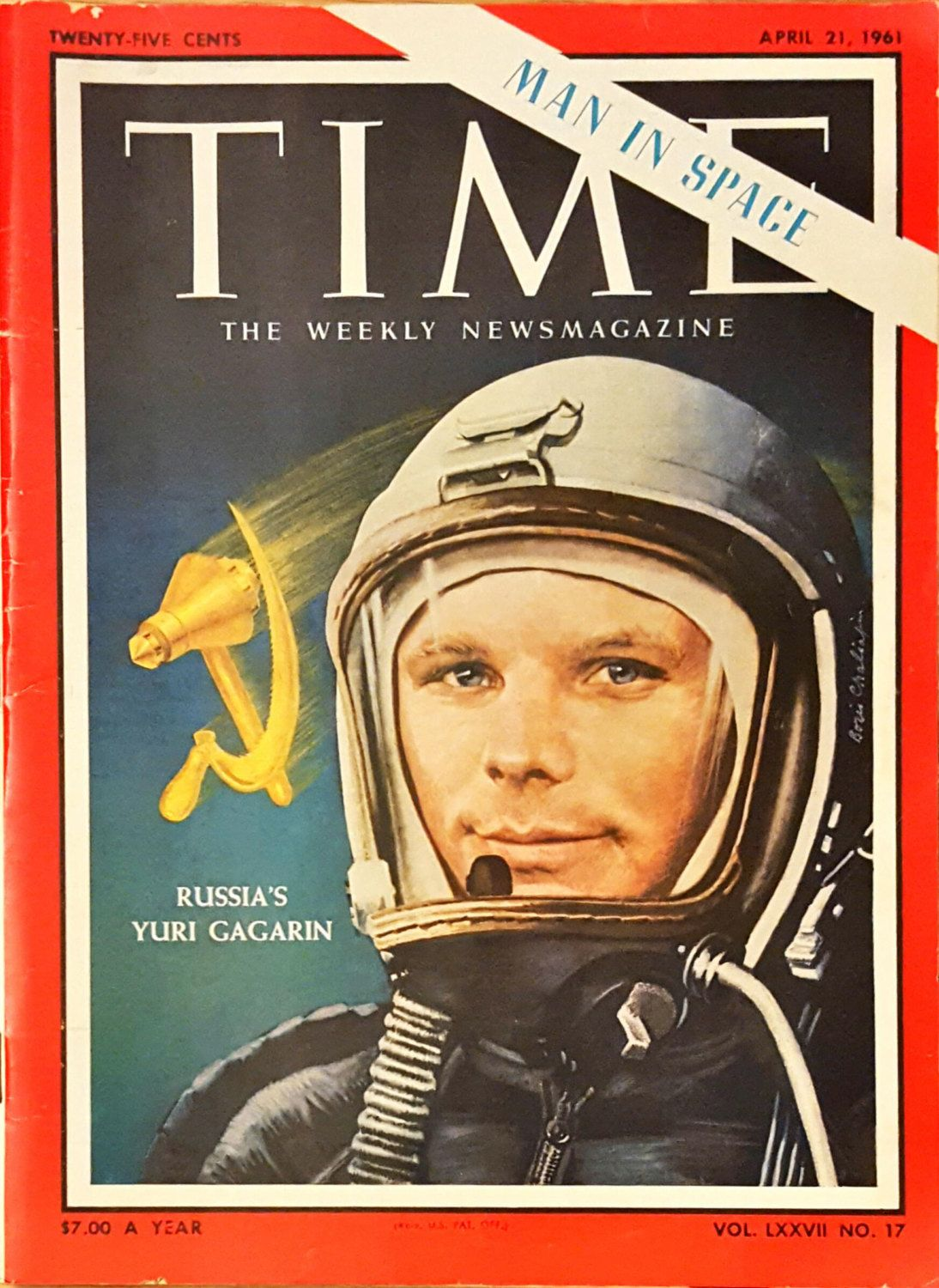time magazine with yuri gagarin on the cover from april 21