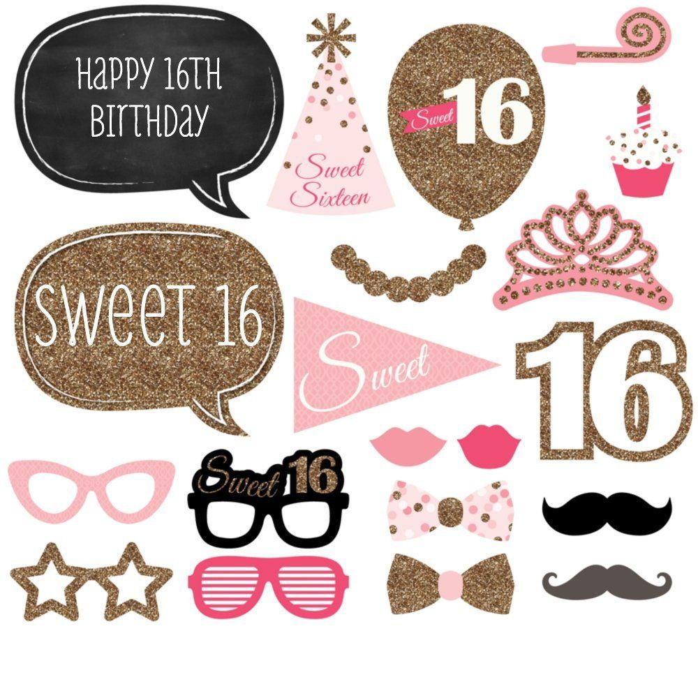 20x 16th Happy Birthday Photo Booth Props Photography Party Decoration Selfie