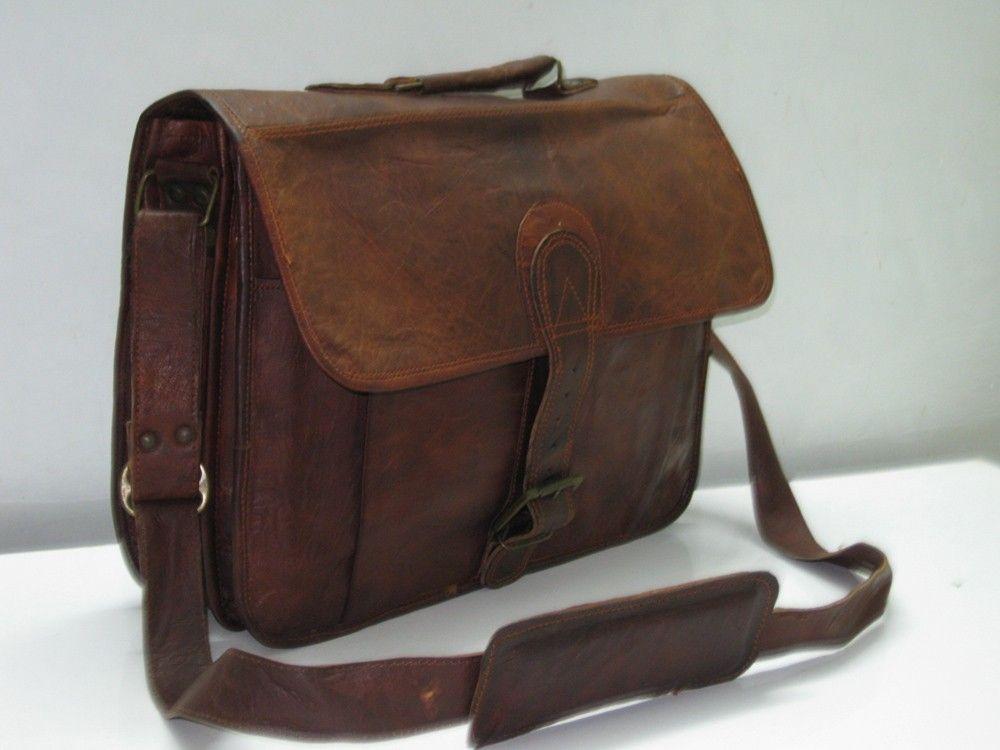 Leather Briefcase Men Messenger Bags Laptop Bag Macbook Case Brown ...