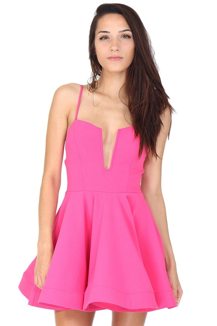 24e0acd47ea9 Hot pink skater dress featuring low cut v-neck