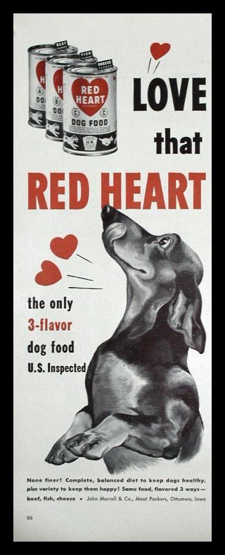 1950s Red Heart dog food ad. (With images) Vintage