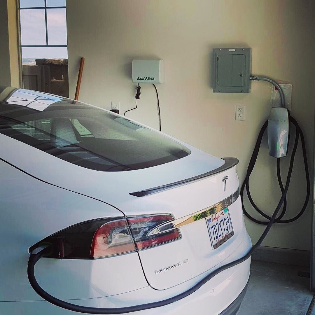 Completed Installation Of A Tesla Wall Connector Unit Now