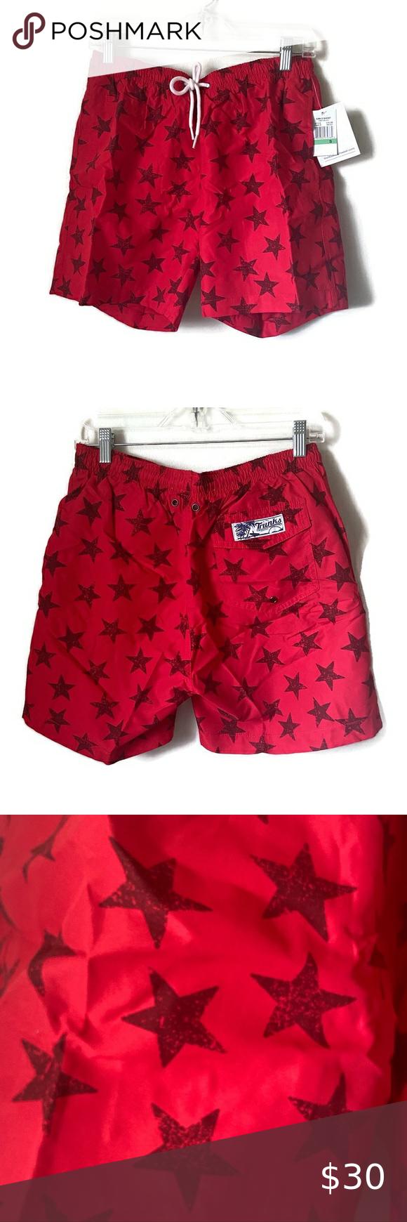 The Foundry Mens Red /& Navy Blue Tie Dye Swim Trunks Swim Shorts Board Shorts