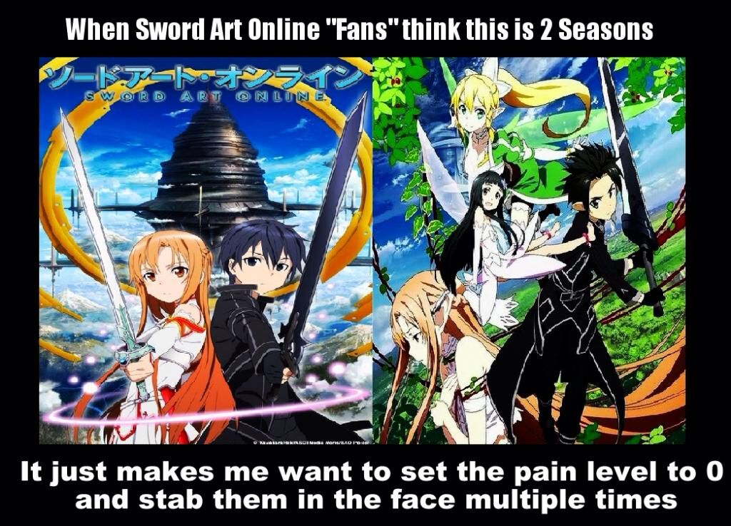 ALO IS NOT SEASON 2!!!!! Sword art online meme, Sword