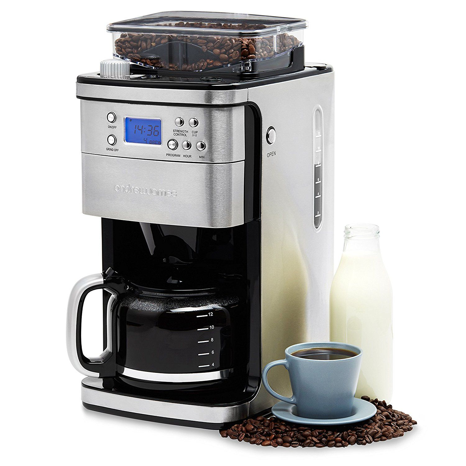 Andrew James Filter Coffee Machine With Integrated Bean Grinder New And Improved Model
