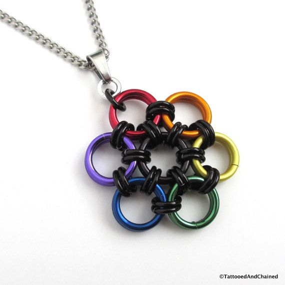 LGBT jewelry, gay pride pendant, rainbow chainmail flower